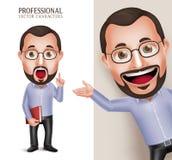 Viejo profesor divertido Teacher Man Vector Character que sostiene el libro stock de ilustración