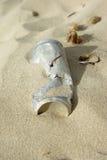 Viejo pueda abandonado en la playa Imagen de archivo libre de regalías