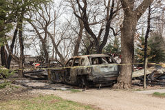 Viejo queme el coche que se sienta entre árboles altos Fotografía de archivo