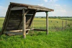 Viejo refugio en campo de trigo verde fotos de archivo