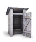Viejo retrete de madera con la puerta abierta Imagenes de archivo