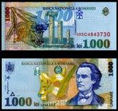 1000 viejo rumano Bill de los leus 1998 Imágenes de archivo libres de regalías