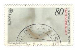 Viejo sello alemán cancelado con la estatua de Michelangelo Imagen de archivo