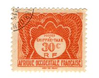 Viejo sello de las Áfricas occidentales francesas Imágenes de archivo libres de regalías