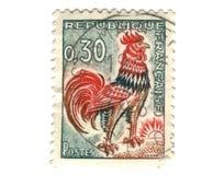 Viejo sello del francés con el pollo Fotografía de archivo libre de regalías