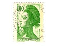 Viejo sello verde del francés Imagenes de archivo