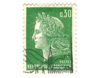Viejo sello verde del francés Imagen de archivo libre de regalías