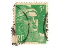 Viejo sello verde del francés Fotografía de archivo