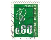 Viejo sello verde del francés Fotos de archivo libres de regalías