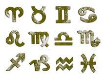 Viejo sistema aherrumbrado del horóscopo de 12 muestras del zodiaco Fotos de archivo libres de regalías