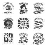Viejo sistema del diseño del vector de la impresión de la camiseta del efecto del grunge Foto de archivo libre de regalías