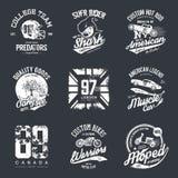 Viejo sistema del diseño del vector de la impresión de la camiseta del efecto del grunge Imagen de archivo libre de regalías