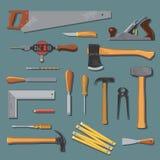 Viejo sistema del vector de las herramientas del carpintero Imagen de archivo libre de regalías