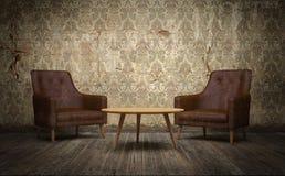 Viejo sitio del vintage con las sillas de cuero y la mesa de centro 3d rinden ilustración del vector