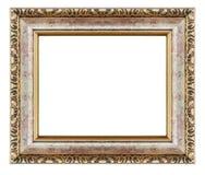 Viejo soporte de madera tallado decorativo aislado del oro marco antiguo fotografía de archivo libre de regalías