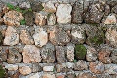 Viejo stonewall con las plantas Foto de archivo libre de regalías