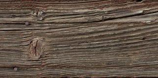 Viejo tablero de madera con las grietas y los clavos oxidados Foto de archivo libre de regalías