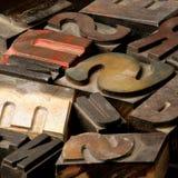 Viejo tipo de madera cartas Fotografía de archivo