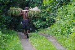 Viejo trabajador indonesio Fotos de archivo