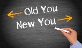 Viejo usted y nuevo usted - texto femenino de la escritura de la mano fotografía de archivo libre de regalías