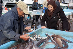 Viejo vendedor de los pescados Fotografía de archivo libre de regalías