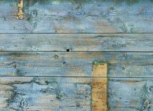 Viejo verde azul resistido de los tablones del fondo Foto de archivo