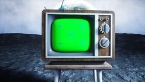 Viejo vintage de madera TV en la luna Fondo de la tierra Concepto del espacio Pantalla verde de la difusión que sigue la cantidad ilustración del vector