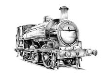 Viejo vintage retro del motor locomotor de vapor Imágenes de archivo libres de regalías