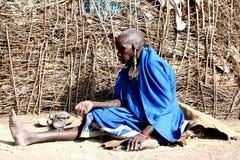 Viejo womwn del masai Imagen de archivo