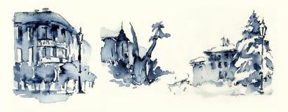 Viejos bosquejos del ejemplo de las miniaturas de la tinta azul de la ciudad Imagen de archivo
