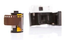 Viejos cámara y carrete de película análogos IX Fotografía de archivo