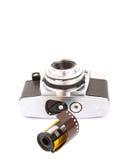 Viejos cámara y carrete de película análogos V Fotografía de archivo