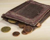 Viejos centavos de las monedas de la cartera y del euro Dinero euro Fotografía de archivo
