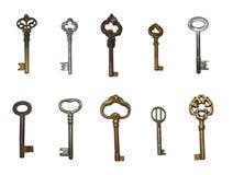 Viejos claves aislados Fotografía de archivo