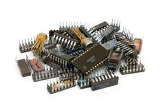 Viejos componentes electrónicos Imagen de archivo