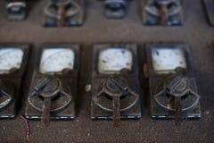 Viejos controles de la central eléctrica Foto de archivo libre de regalías