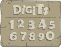 Viejos dígitos de piedra estilizados ilustración del vector