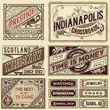 Viejos diseños del anuncio - ejemplo del vintage Imagen de archivo
