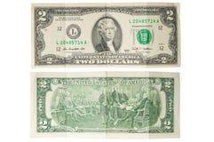 Viejos dos dólares de billete de banco Fotografía de archivo libre de regalías
