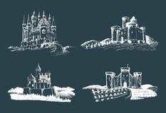 Viejos ejemplos de los castillos del vector fijados Dé los paisajes arquitectónicos exhaustos de torres antiguas con los campos y ilustración del vector