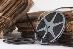 Viejos ficheros y tira de la película del vintage Fotografía de archivo libre de regalías