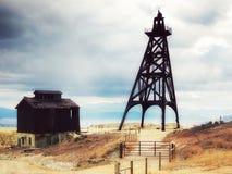 Viejos headframes de la explotación minera en una mina de cobre enorme, mota, Montana, Estados Unidos fotos de archivo libres de regalías
