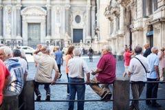 Viejos hombres que hablan, Catania Imagen de archivo