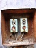 Viejos interruptores de la fábrica fotos de archivo libres de regalías