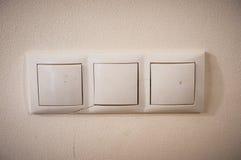 Viejos interruptores de la luz Fotografía de archivo libre de regalías
