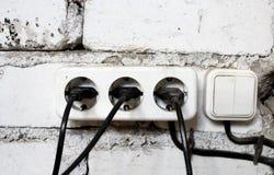 Viejos interruptores eléctricos Imagen de archivo libre de regalías