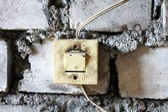 Viejos interruptores eléctricos Foto de archivo libre de regalías