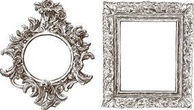 Viejos marcos adornados Imágenes de archivo libres de regalías