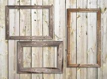 Viejos marcos de madera en fondo de madera Fotografía de archivo