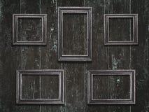 Viejos marcos de madera en fondo de madera del vintage Fotografía de archivo